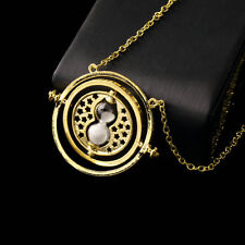 Trendy Retro Rotating Time-Turner Gold Hourglass Pendant Chain Necklace IM