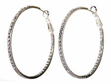"Swarovski Elements Crystal 2"" Somerset Hoop Pierced Earrings Rhodium Plated 223y"