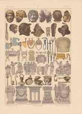 Römer Opfertisch Masken Antike LITHOGRAPHIE von 1883 Gladiatorenwaffen
