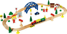 CHAD VALLEY 60 PIECE WOODEN TRAIN TRACK TOY SET COMPATIBLE WITH BRIO ELC THOMAS
