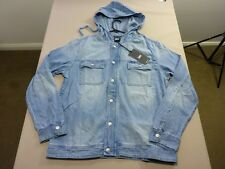066 MENS NWT LEE LT BLUE WASH HOODED ZIP UP SUMMERWEIGHT DENIM JACKET XL $170.