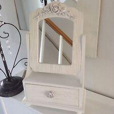 Shabby vintage estilo chic de madera Swing Espejo Con Make Up/Joyería Cajón.