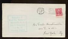 US Small Town Event Cover 1932 Somerville, NJ Dedication World War Memorial