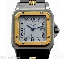 Contemporary Cartier Santos Men's Gold Stainless Automatic Watch w/ Box Papers