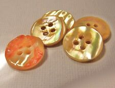 5 BOUTONS  Nacre Jaune doré * 15 mm  4 trous * button shell mercerie sewing lot