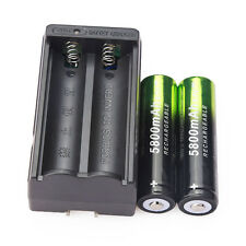 2PCS 5800mAh Li-ion 3.7V 18650 Rechargeable Battery Batteries & Dual Charger