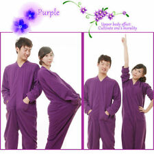Hot Unisex Womens Footed Pyjamas Sleepsuit Onesie Purple - Large