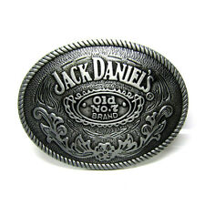 Classic Oval Jack Daniel's Old No. 7 Whiskey Belt Buckle Rodeo Rope Edge Western