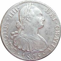 Mexico 8 Reales Mo 1805 T.H. Carolus IIII, KM# 109. Luster.