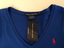 NWT POLO RALPH LAUREN LADIES LS RIBBED V-NECK TEE SHIRT SMALL BLUE PONY