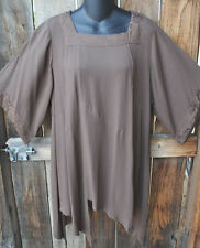 """ART TO WEAR MISSION CANYON 74 PIXIE HEM TUNIC IN SOLID TAUPE, OS+,46""""B!"""