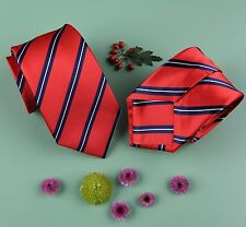 Fashionable Red And With Classic Navy Stripe Design Woven Skinny Tie