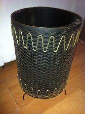 VINTAGE MID CENTURY BLACK METAL WIRE MESH WASTE BASKET TRASH CAN