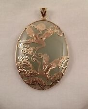 Vintage 14k Yellow Gold Chinese Cranes Moon Peony Large Oval Green Jade  Pendant