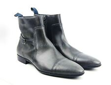HUGO BOSS BLACK LABEL SHOES BOOTS BLUE - GRAY 100% LEATHER NEW SIZE 10,5 43