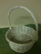 White Washed Round Wicker Basket with Handle