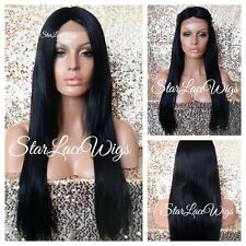 Long Straight Layered Lace Front Wig Jet Black #1 Middle Part Heat Safe Ok