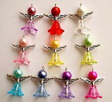 10x Handmade Angel Fairy Charms Pendants Acrylic Flower Beads Wings