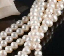 7-8MM Akoya White Freshwater Cultured Pearl Loose Beads 15""