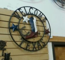 "24"" WELCOME COWBOY BOOT TEXAS STARS METAL WALL WESTERN HOME DECOR NEW"