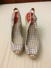 Christian Louboutin Pale Blue Check Menorca Wedge Sandals Ladies 7 40 Peep Toe