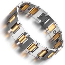 "Tungsten Magnetic Hematite Mens Bracelet, gold & silver 8"" B1422"