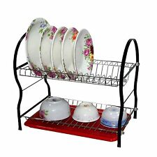 2 TWO LAYER TIER BLACK CHROME DISH PLATE DRAINER DRAINING RACK RED DRIP TRAY