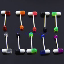 10pcs UV Tongue Rings Bars  Barbells Body Jewelry Pill Shape Mix Colors MA