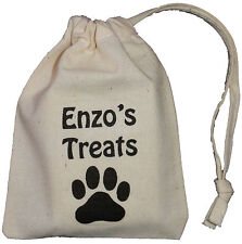 PERSONALISED - DOG TREAT BAG - TINY COTTON DRAWSTRING BAG - (Supplied empty)