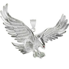 Fine 10k White Gold Flying Eagle Pendant with CZ Made in USA
