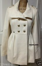 GUESS Classic Creme Military Gold Buttons Double Breast Wool Pea Coat size SMALL
