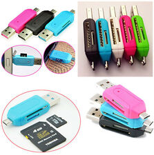 2PCS Fashion Style SD+Micro SD/T-Flash Memory Card Reader to USB 2.0 Adapter New