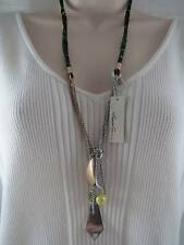 Kenneth Cole silver & gold tone chains & charms~corded necklace, NWT