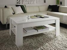 Couchtisch Tisch weiß Holz Beistelltisch mit Ablage Wohnzimmertisch Holztisch