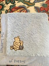 """Classic Pooh Blue Baby Plush Blanket Sweetest of Dreams 27""""x29"""" Super Soft VGUC"""