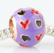 925 Silver purple Cartoon mice Charm Beads Fit European Charm Bracelet A#410