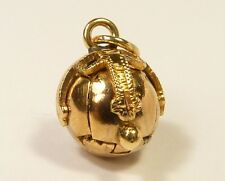 SMALL RARE SOLID 9ct GOLD OPENING MASONIC ORB BALL WATCH CHAIN PENDANT FOB CHARM