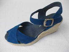 Eric Michael Womens Shoes NEW $130 Alma Royal Blue Nubuc Leather Wedge 40 9