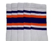 "22"" KNEE HIGH WHITE tube socks with NAVY BLUE/ORANGE stripes style 4 (22-130)"