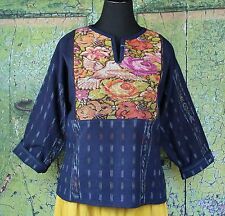 Hand embroidered Guatemalan Tunic, Ikat fabric Huipil, Hippie, Peasant, Cowgirl