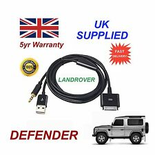 Land Rover Defender iPhone 3GS 4 4S iPod USB & 3.5mm Aux Cable black