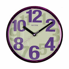 SMALL PURPLE MIRROR FINISH RHYTHM SILENT SWEEP MOVEMENT WALL CLOCK.NEW & BOXED.
