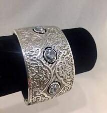 Brighton LOVE PADLOCK Wide Silver Double Hinged Cuff Bracelet - NWT $88
