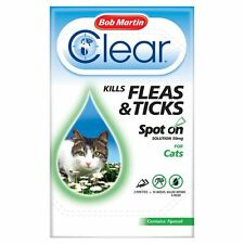 Bob Martin Clear Cat Kitten Spot On Fleas & Ticks Treatment, 3 Tubes