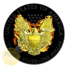 2015 Burning Phoenix US 1$ Silver Eagle 1oz Silver Coin-24kt Gold &Ruthenium NEW