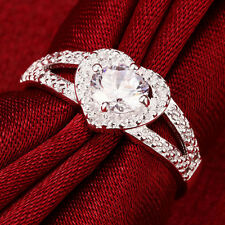 Size 7 Crystal Ideal Silver Plated Love Heart Ring Bridal Wedding Party Jewelry