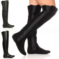 WOMENS LADIES HIGH OVER THE KNEE ELASTIC STRETCH PULL ON FLAT BOOTS SIZE