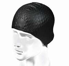 New Bubble Design Soft Silicone Swimming Cap for Long Hair Women and Men Black
