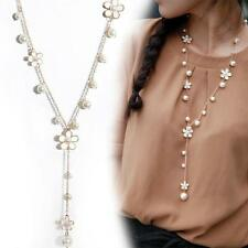 Women Girls Pearl Small Flower Charm Pendant Necklace Long Sweater Chain