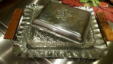 Vintage Glass & Hammered Aluminum Relish Serving Tray with glass dish & lid NICE